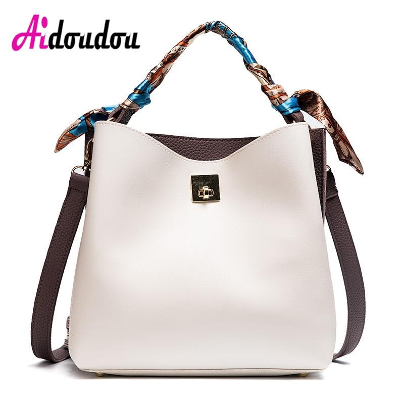 Fashion Bucket Bags For Women 2017 Shoulder Bag With Scarves Panelled Crossbody Bags Bolsa Feminina De Marca Famosa White Yellow<br>