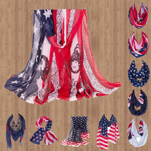 American Flag Scarf US Flag Inifity Shawls For Independence Day Stripe Star Skull Printed Wrap  Long Square Loop Scarves YG212