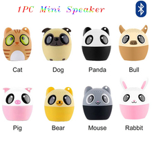 1PC Portable New Car Mini Speaker Computer Phone Cute Animal Bluetooth Full-Range Wireless Speakers With Data Cable Ianyard 5V(China)