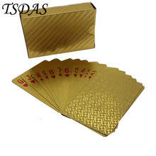 2016 Promotional Cards 999.9 Gold Playing Game Card Fancy Mosaic Gold Foil Plated Playing Cards Free Shipping(China)