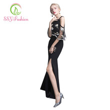 2017 SSYFashion Banquet Evening Dress Sexy Black Lace Embroidery Halter Collar Sleeveless Mermaid Prom Dresses Party Gown Custom(China)