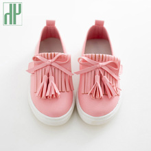 HH Kids shoes spring girls leather shoes princess tassel Flats children shoes girls cute sneakers for toddler girls trainers
