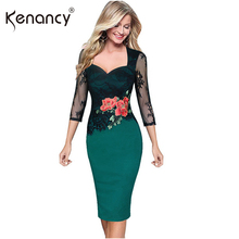 Kenancy 5XL Plus Size Elegant Patchwork Lace Floral Embroidery Pencil Dress Women Square Neck 3/4 Sleeve Vestidos Party & Office(China)
