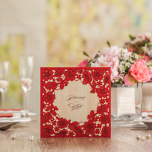 100Pcs Flora Laser Cutting Invitation Card Red Wedding Invitations Cards With Envelope Marriage Invitation+Customized Printing