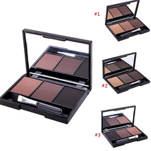 2 Professional 3 Color Eyebrow Powder Palette Cosmetic Eye Brow Enhancer Waterproof Makeup Eyes Shadow With Brush Mirror