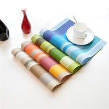 4pcs Heat Resistant PVC Kitchen Dinning Stripe Cup Placemats Drinks Holder Dining Decor Tableware Placement Mat 45*30cm