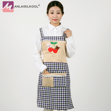 2018 Fashion Style Linen Aprons Colorful Plaid Embroidery Pattern Apron With Pocket H Shape Shoulder Strap Aprons(China)