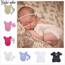 Baby Deep V Bare Back Romper Bowknot Bodysuit Lace Romper Newborn Photography Props Baby Photo Props Infant Photoshoot