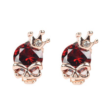 Red Simulated Gemstone Earring For Girl Pretty Crown Design Skull Shape Stud Earring For Party Fashion Nice Earring