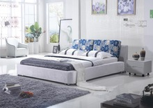 Online bedroom furniture prices black leather bed for sale(China)