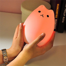 Cute Led Cat Light Color Changing Silicone Cat Night Lights 2 Modes Tap Control Xmas Bedroom Lumiere Children Bedside Night Lamp(China)