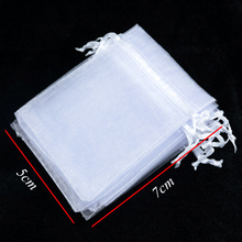 Free Shipping 100pcs 5x7cm small organza gift bags White color drawstring Pouches Wedding Christmas Gift Drawstring Bags