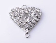Heart Rhinestone Embellishment Button 25MM 100pcs/lot Nickle Color Flat Back Used On Shoe Decoration