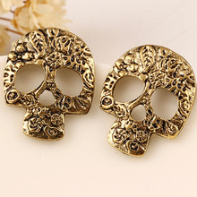 2016 Fashion Vintage Alloy Skull Stud Earring New Design Punk Earring Jewelry For Women Christmas Gift Pendientes Mujer Brinco