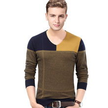 New Design Casual Autumn Patchwork V-Neck Cotton Jumpers Pullover Men Sweaters