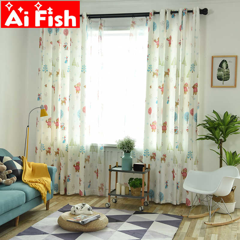 Nordic Christmas Tree Living Room Blackout Curtain Modern Print Cartoon Fox and Beer Bedroom Curtain Tulle For Children wp029-40