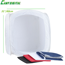 "31""/80cm Foldable Photo Studio Shooting Tent Cube Softbox with 4 Backdrops Blue/Black/White/Red(China)"