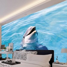 Beibehang Custom wallpaper beautiful melody sounds dolphins animals parlor room backdrop mural wallpaper for walls 3 d  photo