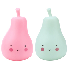 Candy Color LED Pear Baby Night Light Children Silicone Light-Up Toys Kid Bedroom Decorated Light Lamp Pink/Green(China)