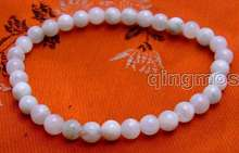 "SALE small 6mm Round white Natural High quality Moonstone Beads bracelet 7.5""-bra266 Free shipping(China)"