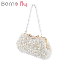 Bernofly Full beaded women vintage evening bags imitation pearl Ladies handbag shoulder bag diamond clutch bags for wedding(China)