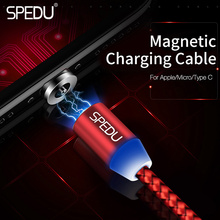SPEDU Mobile Phone Charger LED magnetic usb charging cable For iphone 7 plus x 8 Samsung galaxy S8 xiaomi redmi 4x 5 note 4X mi6(China)