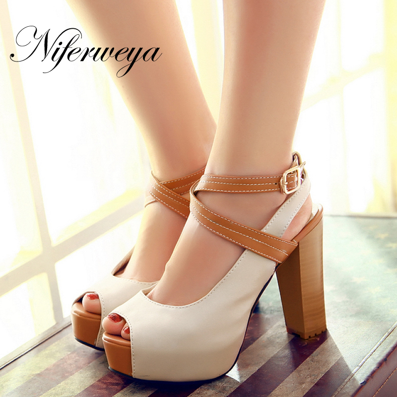 2016 Fashion summer women shoes elegant comfortable platform High heels color matching peep toe sandals small Size 32 33 CHD-D31<br>