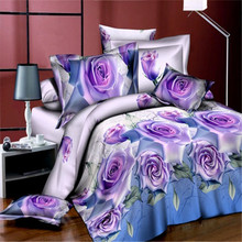 3D Purple rose print Soft Polyester bedding set flower floral duvet cover fitted bed sheet pillow case bedspread Cal queen size