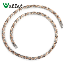 Wollet Jewelry Rose Gold Color Health Energy Korean 5mm Bio Magnetic Pure Titanium Necklace For Men Women(China)