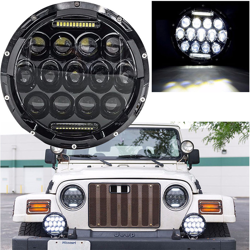 For Jeep Wrangler 7inch LED Headlight High Low Beam Round LED Headlight With DRL For Wrangler 07-15 Harley Davidson Motorcycle<br><br>Aliexpress
