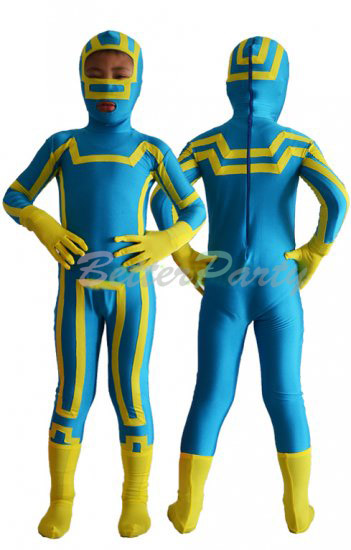 Free Shipping Kick Ass Kids Costume Blue and Yellow Spandex Lycra Zentai Kick Ass Children Cosplay Halloween Suit