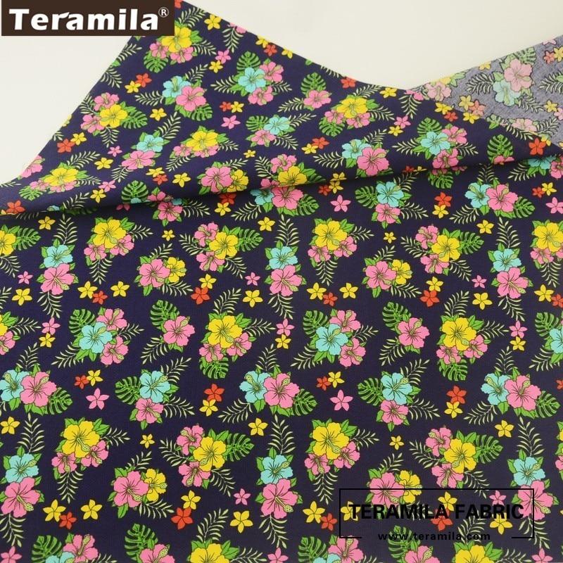 7 Colores de alta calidad artesanal Popelina 100/% algodón Pasta de impresión Impresión de flor pequeña