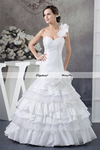 Wholesale Wedding Dress Taffeta One Shoulder Tiered Flowers Floor length Custom made Plus size  WD61945