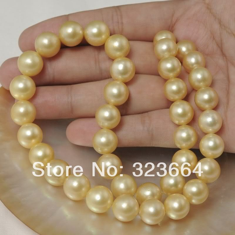 "HUGE 18"" 11-12 MM SOUTH SEA GENUINE GOLD PEARL NECKLACE PLATED"