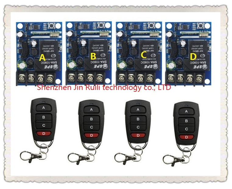 New DC12--48V 12V 24V 36V 48V 1CH 10A RFWireless remote control switch System 4Transmitter +4Receiver Learning code<br>
