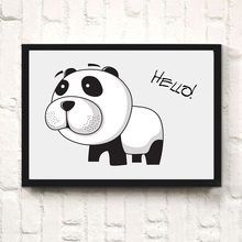 Cartoon Puppy Cute Animal Canvas Art Print Poster Painting Funny Dog Say Hello Wall Decor Picture For Kids Bedroom No Frame