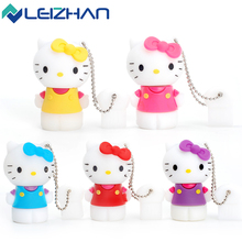 LEIZHAN Cute USB Flash Drive Hello Kitty 8GB Kids USB Memory Stick 16GB USB 2.0 Pen Drive 32gb U Disk 4GB Pendrive Student Gift(China)