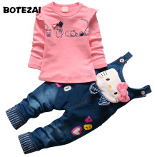 2017 Autumn Baby Girls Hello Kitty Clothing Set Children Denim overalls jeans pants +Blouse Full Sleeve Twinset Kids Clothes Set