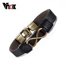 Fashion Infinity Bracelet Bangle Genuine Leather Hand Chain Retro Color Bronze Alloy Buckle(China)