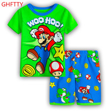 New cotton Boy Short Sleeve cartoon style home clothes children's clothes summer suits air conditioning clothes cartoon pajamas
