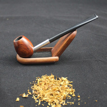 Handmade Nature Rosewood Wood Red Weed Mini Egg Design Straight Type Pocket Wooden Tobacco Smoking Pipe + Pipe Pouch #RDLSSYh