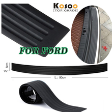 KOSOO For Ford Focus 3 4/Mondeo/Fiesta/Ecosport/Edge B-MAX Rubber Rear Guard Bumper Protect Trim Cover Sill mat pad car styling