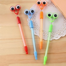 1pcs Multifunction Cartoon Cute big eyes Ballpoint Pens Black Cute Ball Pen Korean Stationery School Student Supplies Gift #0073(China)