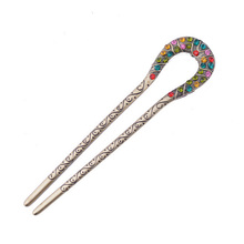 High-grade twist diamond hairpins Restoring ancient ways royal headdress  double U court hair clasp act the role ofin