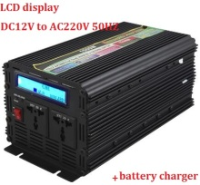 LCD display UPS inverter modified sine wave rated 1500W 3000W(peak)DC12v to AC220v Inverter+Charger Quiet and Fast Charge