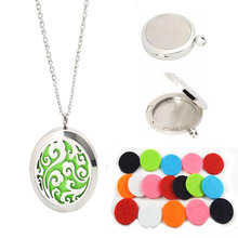 1PC  Summer Fashion Silver Round Wishing Box Pad Perfume Essential Oil Aromatherapy Diffuser Gift Punk Fragrance Locket Necklace