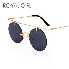 ROYAL GIRL 2017 Summer Round Sunglasses Women Rimless Shades Fashion Flat Top Female Vintage Glasses ss242(China)