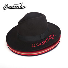 Badinka 2017 New Vintage Autumn Winter Black Red Blue Embroidered Letter Wide Brim Fedora Hat Ladies Felt Bowler Bucket Hat Caps(China)