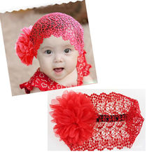 Unisex Lovely  Flower Lace Headband Soft Hair Band Kids Boys Headwear Beanie Hat 3 Colors High Quality