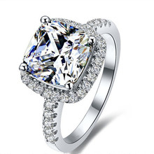 AINUOSHI Luxury 3 Carat Engagement Halo Rings Princess Stlye Cushion Cut Anelli Donna 925 Sterling Silver Women Wedding Jewelry